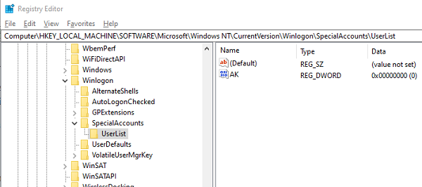 Registry Setting to Hide Windows Account