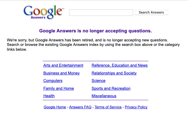 Discontinued Google products - Google Answers