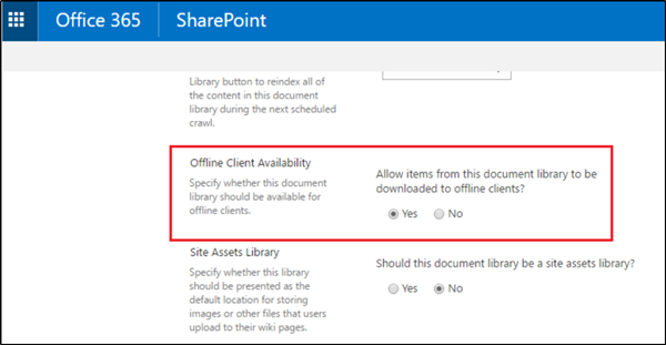 Turn On/Off sync for SharePoint Document Library
