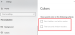 Start, Taskbar, and Action Center options greyed out in Windows 10 Colors settings