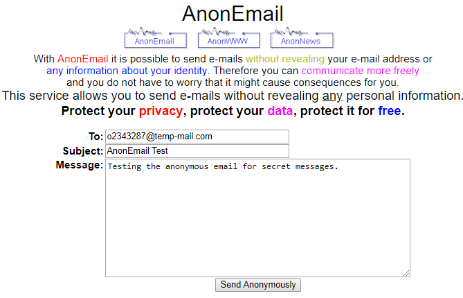 anonmail- free disposable email