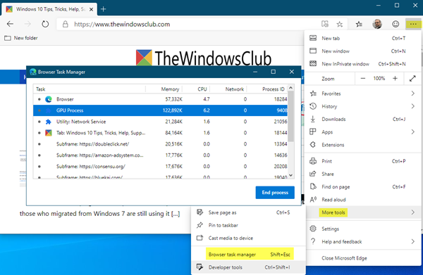 Browser Task Manager in Microsoft Edge