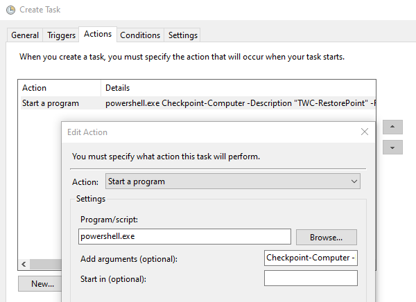 Add Command to Task Scheduler to Create Restore Point