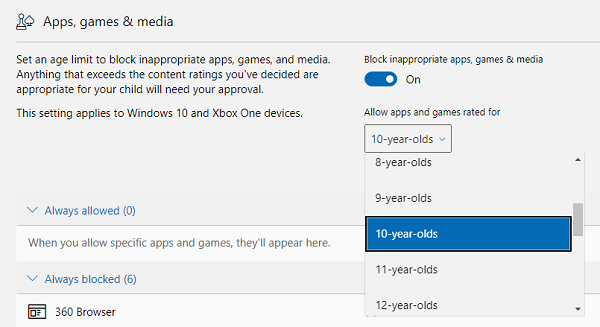 Family Settings and App Restriction