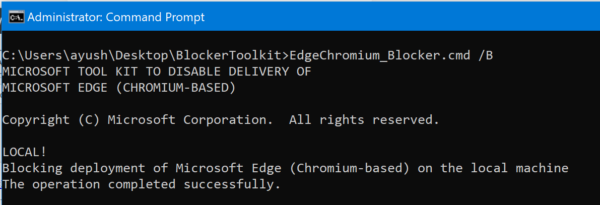 Blocker Toolkit will block automatic delivery of Microsoft Edge (Chromium)