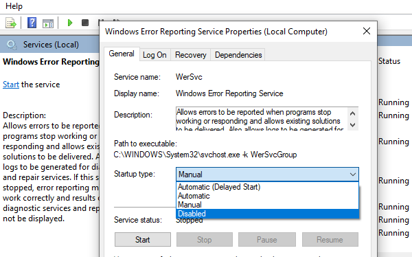 Disable Windows Error Reporting Services