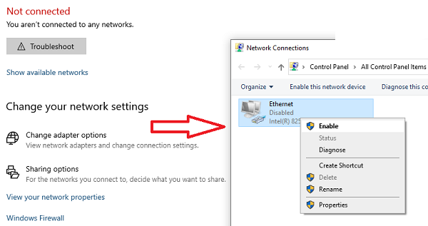 Ethernet connection not working in Windows 10