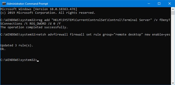 Enable Remote Desktop using Command Prompt and Windows PowerShell
