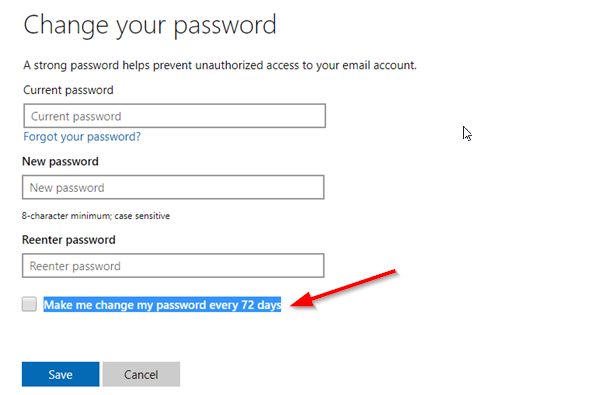 Force Change Microsoft Account Password