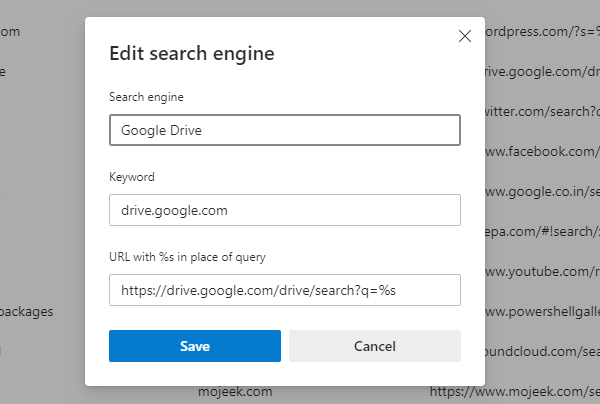 Search any website directly from Address Bar (Chrome and Edge)
