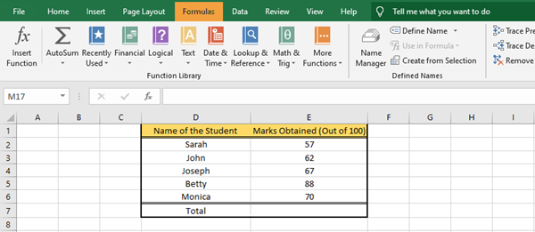 insert Formulas and Functions in Microsoft Excel