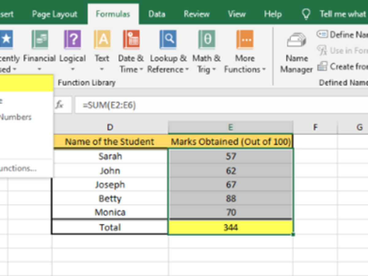 How to Insert and Calculate Formulas and Functions in Excel