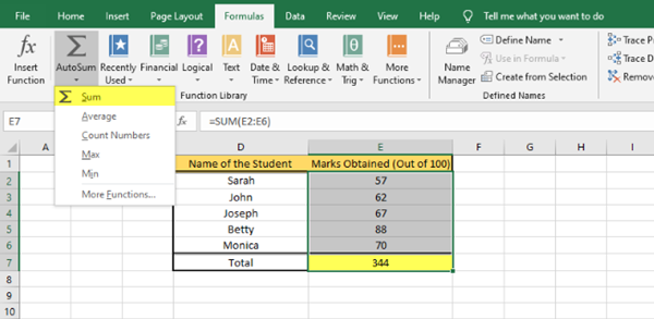 Calculate or Insert Formula in MS Excel
