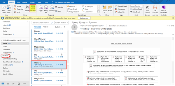 archive Emails & retrieve archived emails in Outlook