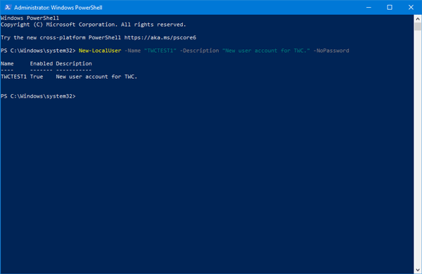 How to create new local user account using Windows PowerShell