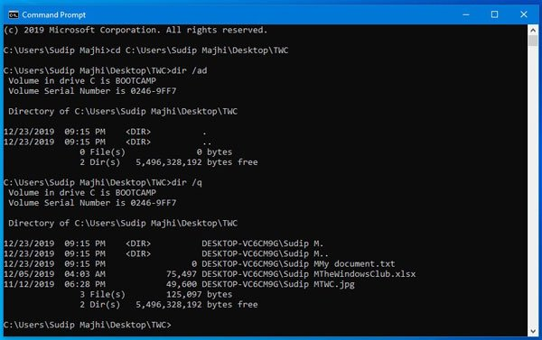 How to find file ownership information using Command Prompt