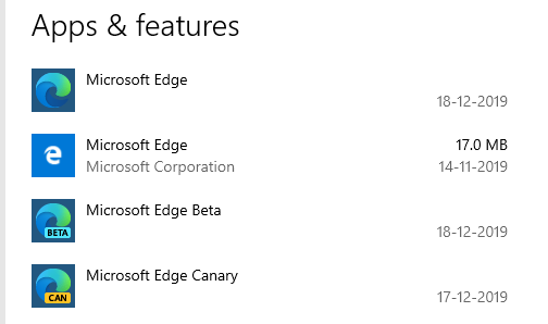 Microsoft Edge Legacy Stable Beta Canary Installed