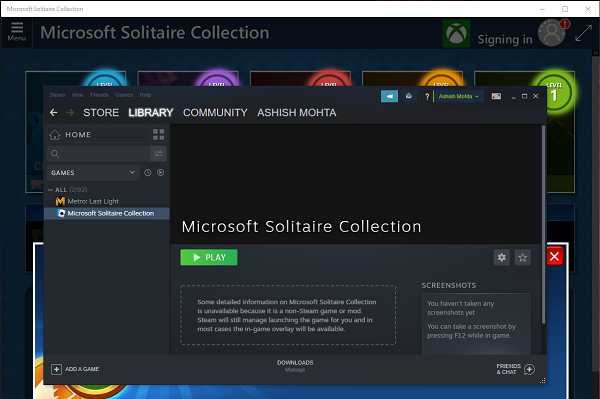 Microsoft Store Game listing in Steam