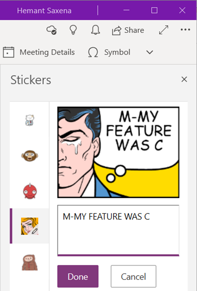 Insert graphical stickers or emoji in OneNote