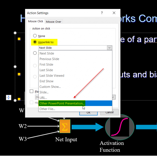 How to link one PowerPoint presentation to another