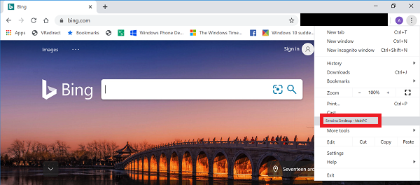 Remove 'Send to' in Google Chrome on Windows 10
