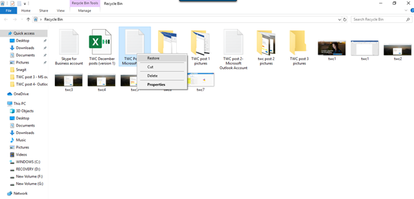 Restore Deleted Files and Folders from the Recycle Bin