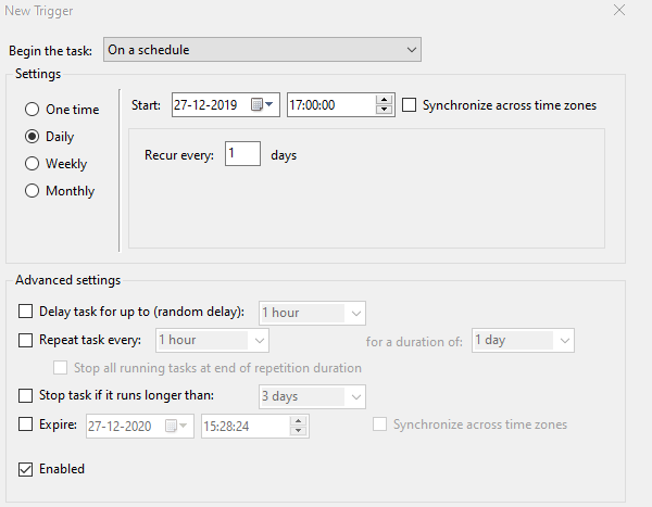 Schedule Task to create restore point everyday
