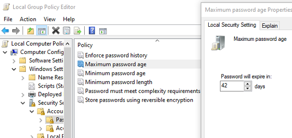 Set Password Expired Date using Group Policy