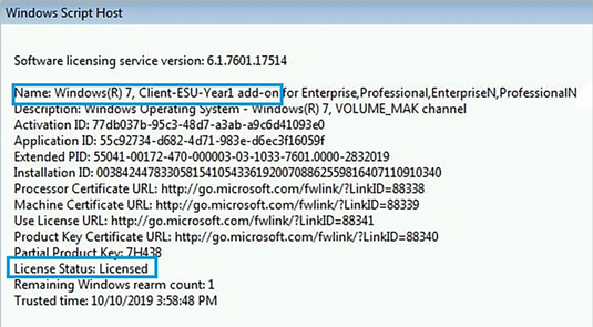 Verify Windows 7 Extended Security Updates