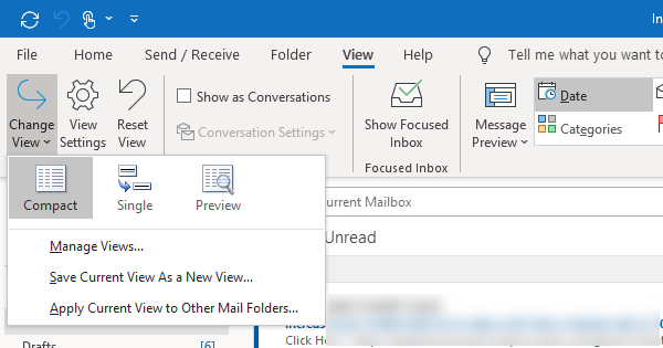 Change Inb0x View in Outlook