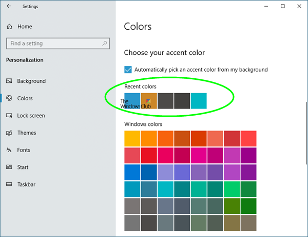 delete recent colors history in Windows 10