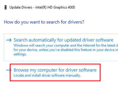Browse my computer for driver software