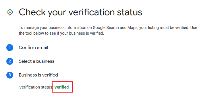 Check your GMB verification status