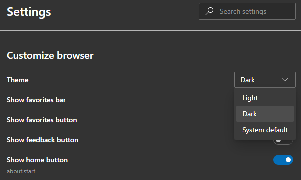 Dark Mode Edge Chromium