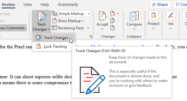 Review Feature to track changes in Word documents