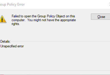Failed to Open group Policy Object on this computer