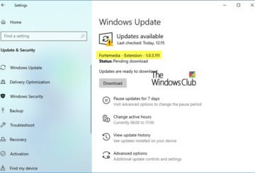 What is the Fortemedia Extension Update in Windows 10?