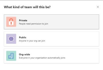 create a Private Team and change Privacy in Microsoft Teams