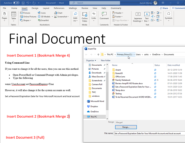 Insert Bookmarked text only into Word Document