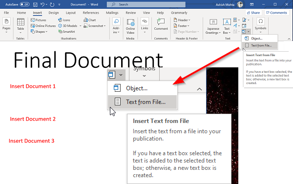 How to merge Word Documents