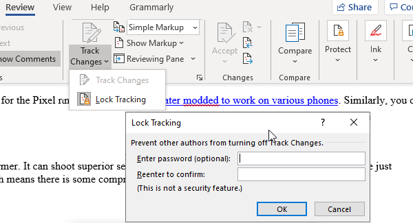 Lock Track Changes Feature Microsoft Word