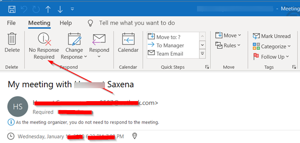 Outlook Meeting Response Options not visible