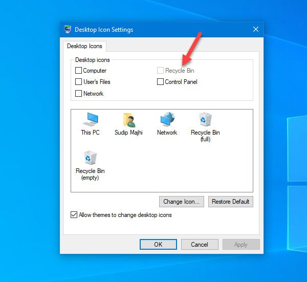 Recycle Bin is greyed out in Desktop Icon Settings window