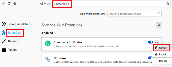 Remove add-ons from Firefox