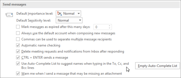 Delete old email IDs from auto-complete list in Outlook