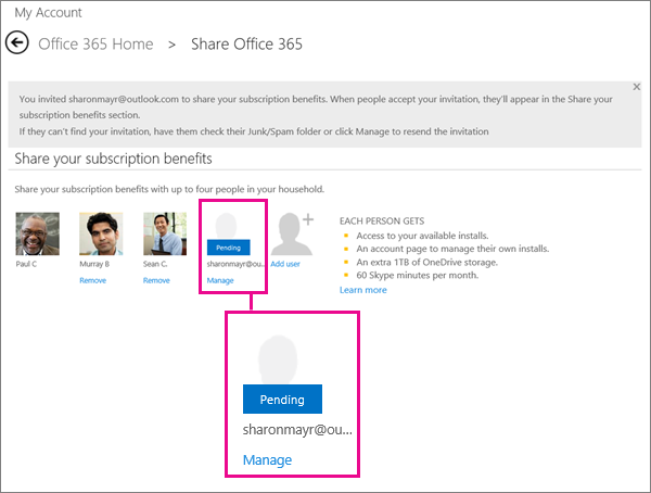 Share Office 365 Home subscription benefits