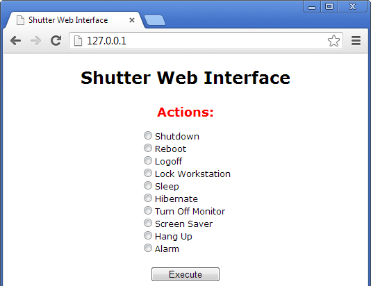 Shutter Web Interface