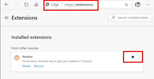 Turn on Extension in New Edge