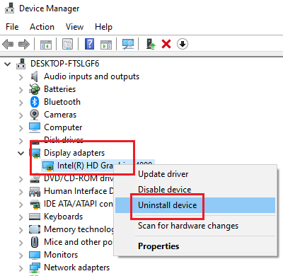 Uninstall integrated graphics card driver