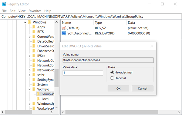 Enable Windows to Soft Disconnect a computer from a Network